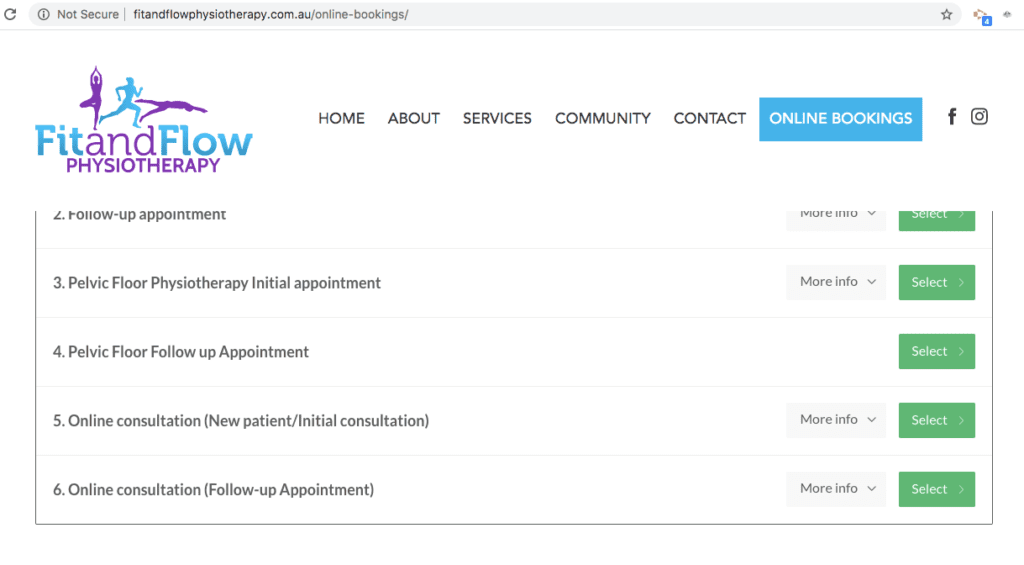 Fit and Flow Physio Appointment Planner